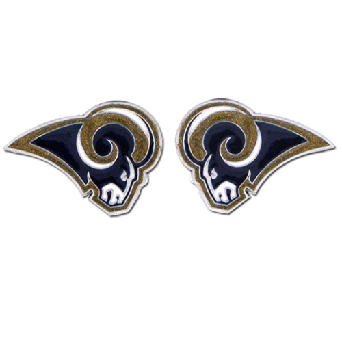 Studded NFL Earrings - Los Angeles Rams - Our studded NFL team logo earrings are carved in 3D detail and enameled in team colors. Check out our entire line of licensed NFL  earrings! Officially licensed NFL product Licensee: Siskiyou Buckle .com