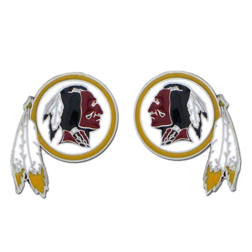 Studded NFL Earrings - Washington Redskins - Our studded NFL team logo earrings are carved in 3D detail and enameled in team colors. Check out our entire line of licensed NFL  earrings! Officially licensed NFL product Licensee: Siskiyou Buckle Thank you for visiting CrazedOutSports.com