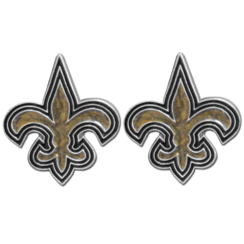 Studded NFL Earrings - New Orleans Saints - Our studded NFL team logo earrings are carved in 3D detail and enameled in team colors. Check out our entire line of licensed NFL  earrings! Officially licensed NFL product Licensee: Siskiyou Buckle .com