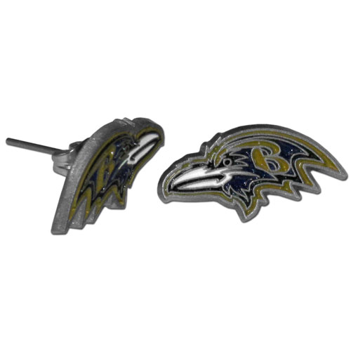 Studded NFL Earrings - Baltimore Ravens - Our studded NFL team logo earrings are carved in 3D detail and enameled in team colors. Check out our entire line of licensed NFL  earrings! Officially licensed NFL product Licensee: Siskiyou Buckle Thank you for visiting CrazedOutSports.com