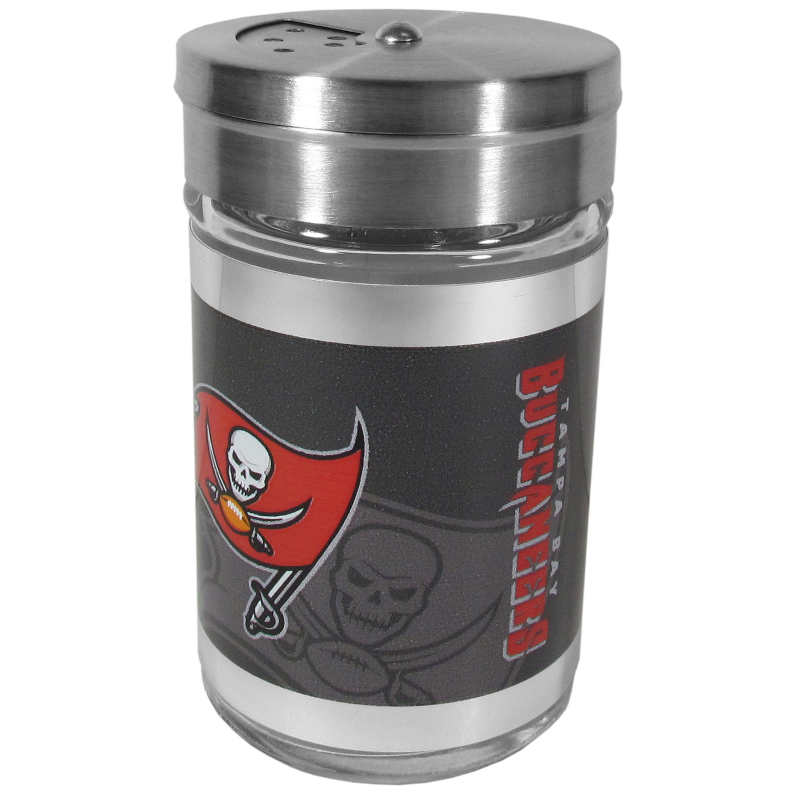 Tampa Bay Buccaneers Tailgater Season Shakers - Spice it up with our Tampa Bay Buccaneers tailgater season shakers! This compact shaker is 2 inch tall with a twist top that closes off the holes at the top making it perfect for travel preventing those messy spills. The shaker has wide holes perfect for keeping your pepper seeds or cheese toppings. The bright team graphics will make you the envy of the other fans while you are grilling up your tailgating goodies.