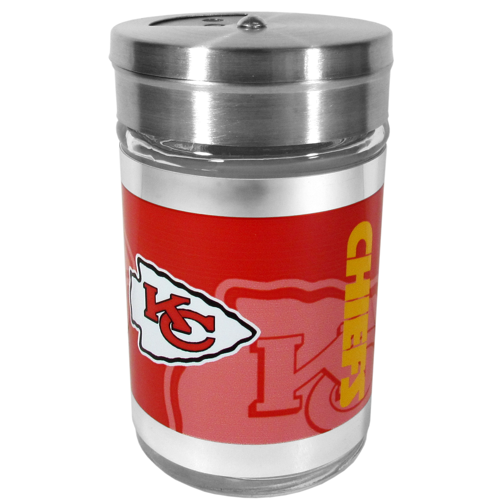 Kansas City Chiefs Tailgater Season Shakers - Spice it up with our Kansas City Chiefs tailgater season shakers! This compact shaker is 2 inch tall with a twist top that closes off the holes at the top making it perfect for travel preventing those messy spills. The shaker has wide holes perfect for keeping your pepper seeds or cheese toppings. The bright team graphics will make you the envy of the other fans while you are grilling up your tailgating goodies.