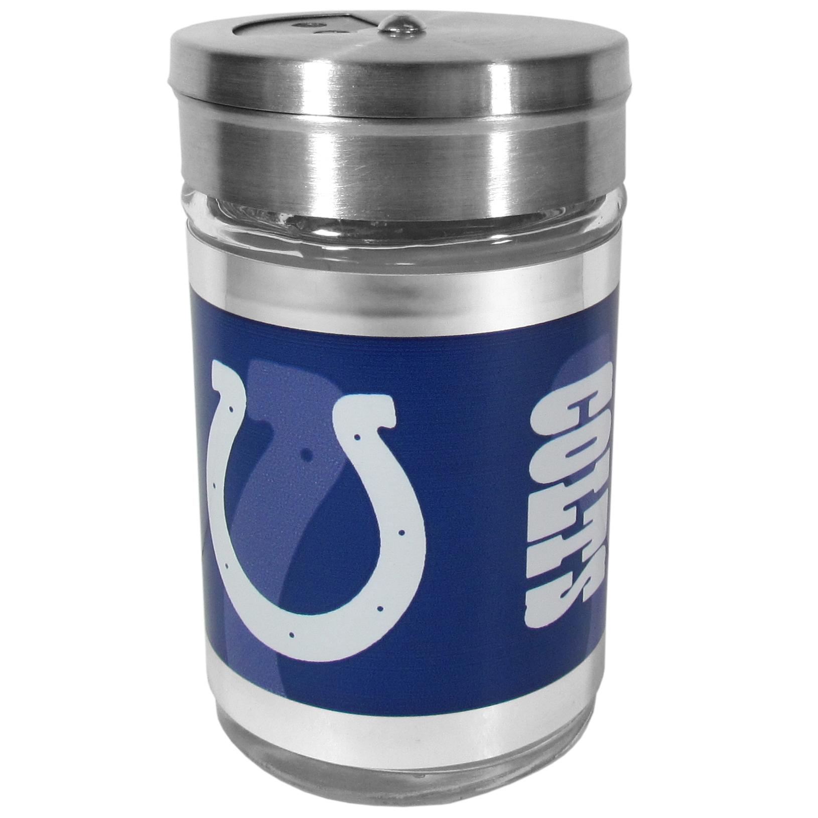 Indianapolis Colts Tailgater Season Shakers - Spice it up with our Indianapolis Colts tailgater season shakers! This compact shaker is 2 inch tall with a twist top that closes off the holes at the top making it perfect for travel preventing those messy spills. The shaker has wide holes perfect for keeping your pepper seeds or cheese toppings. The bright team graphics will make you the envy of the other fans while you are grilling up your tailgating goodies.