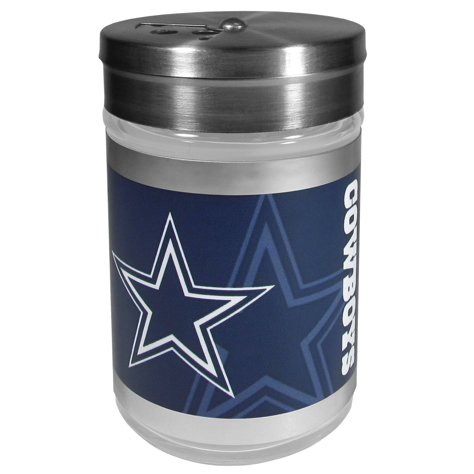 Dallas Cowboys Tailgater Season Shakers - Spice it up with our Dallas Cowboys tailgater season shakers! This compact shaker is 2 inch tall with a twist top that closes off the holes at the top making it perfect for travel preventing those messy spills. The shaker has wide holes perfect for keeping your pepper seeds or cheese toppings. The bright team graphics will make you the envy of the other fans while you are grilling up your tailgating goodies.