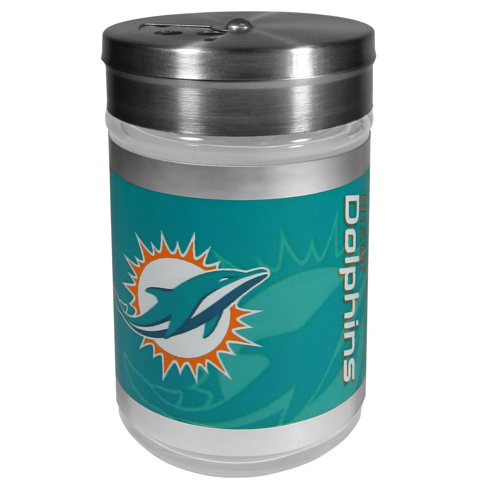 Miami Dolphins Tailgater Season Shakers - Spice it up with our Miami Dolphins tailgater season shakers! This compact shaker is 2 inch tall with a twist top that closes off the holes at the top making it perfect for travel preventing those messy spills. The shaker has wide holes perfect for keeping your pepper seeds or cheese toppings. The bright team graphics will make you the envy of the other fans while you are grilling up your tailgating goodies.