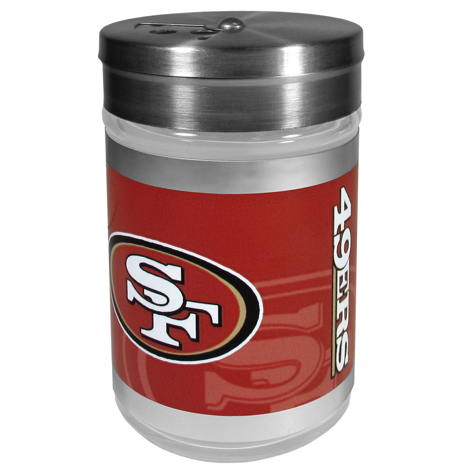 San Francisco 49ers Tailgater Season Shakers - Spice it up with our San Francisco 49ers tailgater season shakers! This compact shaker is 2 inch tall with a twist top that closes off the holes at the top making it perfect for travel preventing those messy spills. The shaker has wide holes perfect for keeping your pepper seeds or cheese toppings. The bright team graphics will make you the envy of the other fans while you are grilling up your tailgating goodies.