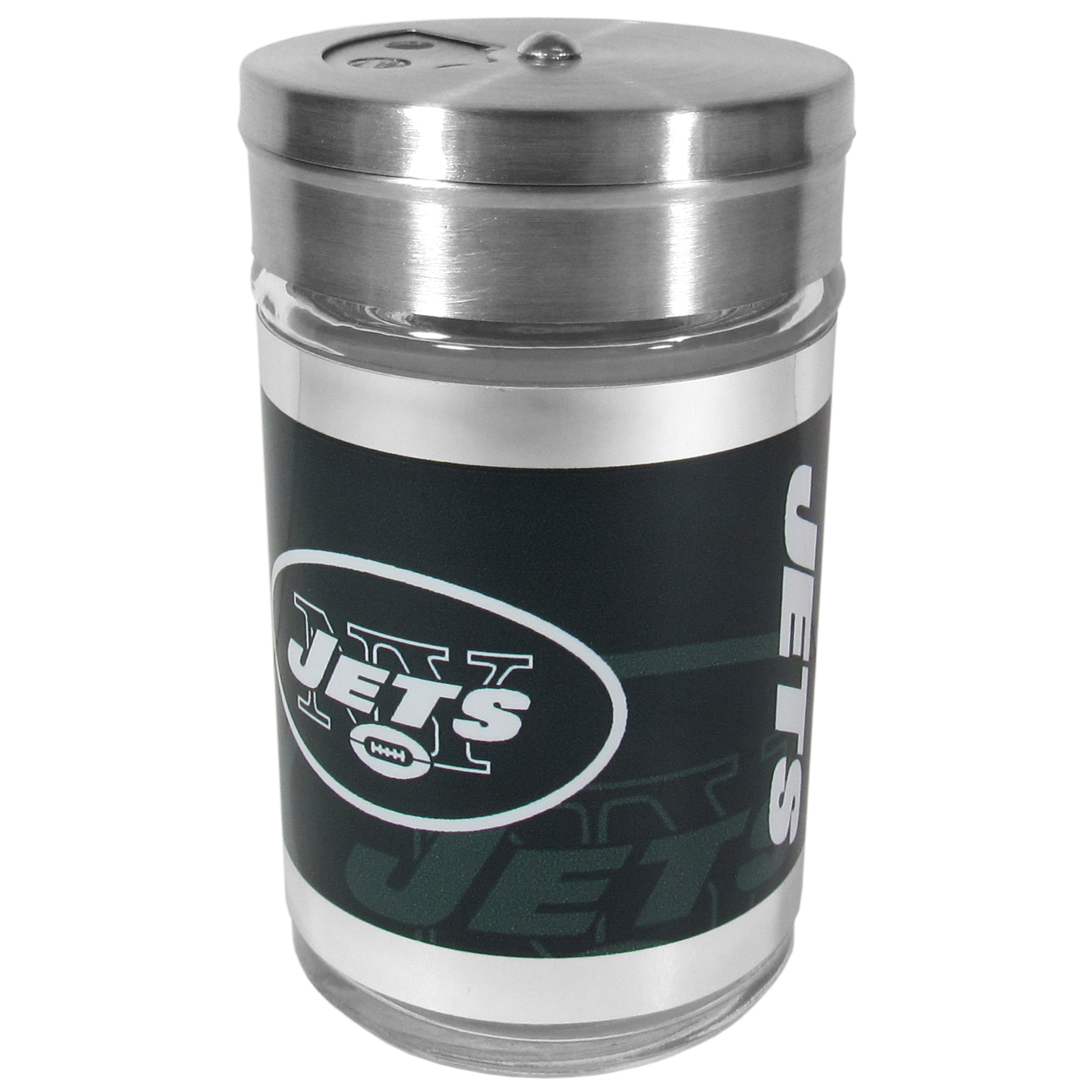 New York Jets Tailgater Season Shakers - Spice it up with our New York Jets tailgater season shakers! This compact shaker is 2 inch tall with a twist top that closes off the holes at the top making it perfect for travel preventing those messy spills. The shaker has wide holes perfect for keeping your pepper seeds or cheese toppings. The bright team graphics will make you the envy of the other fans while you are grilling up your tailgating goodies.