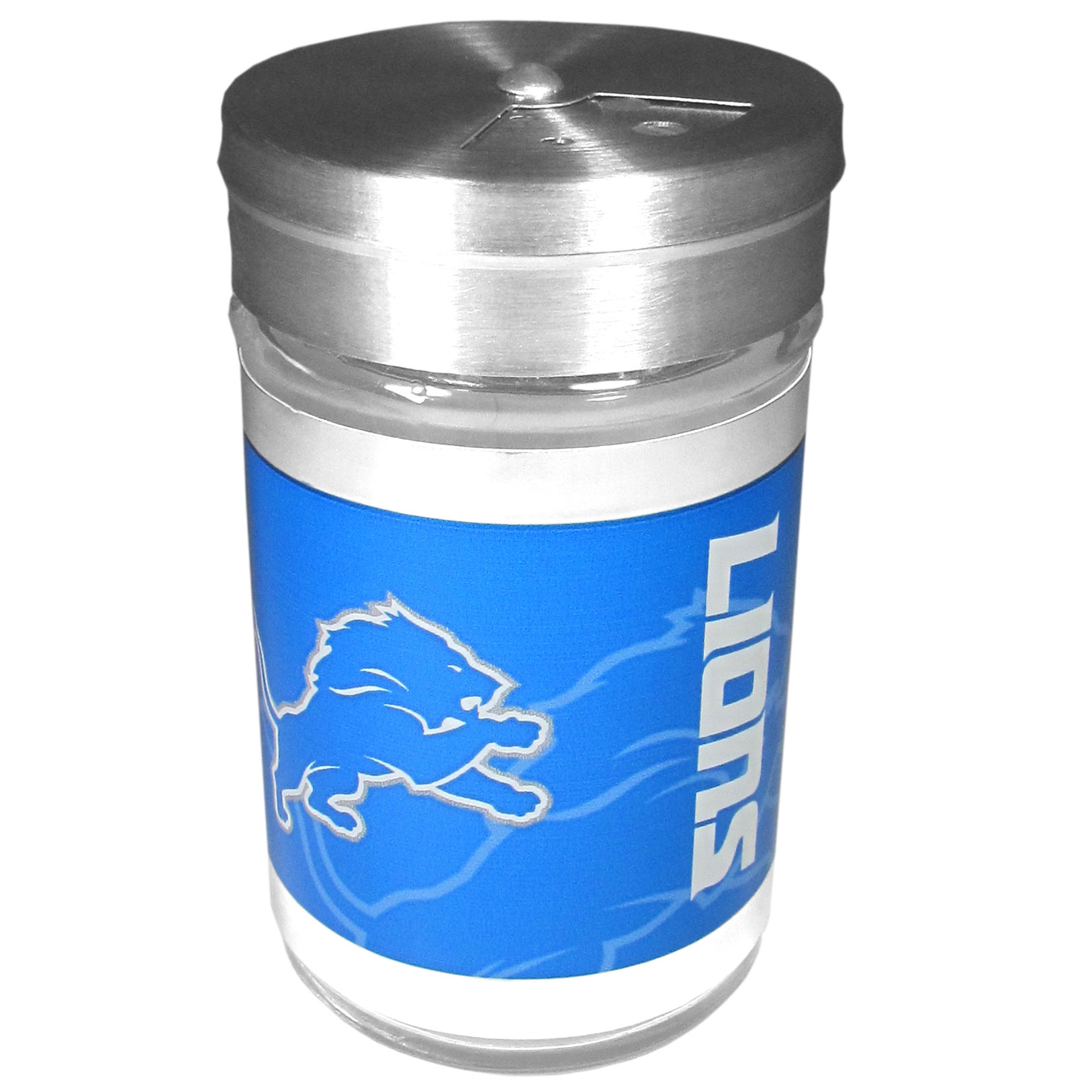 Detroit Lions Tailgater Season Shakers - Spice it up with our Detroit Lions tailgater season shakers! This compact shaker is 2 inch tall with a twist top that closes off the holes at the top making it perfect for travel preventing those messy spills. The shaker has wide holes perfect for keeping your pepper seeds or cheese toppings. The bright team graphics will make you the envy of the other fans while you are grilling up your tailgating goodies.