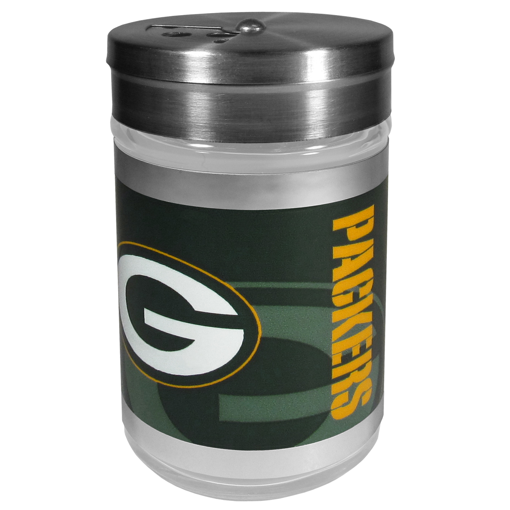 Green Bay Packers Tailgater Season Shakers - Spice it up with our Green Bay Packers tailgater season shakers! This compact shaker is 2 inch tall with a twist top that closes off the holes at the top making it perfect for travel preventing those messy spills. The shaker has wide holes perfect for keeping your pepper seeds or cheese toppings. The bright team graphics will make you the envy of the other fans while you are grilling up your tailgating goodies.