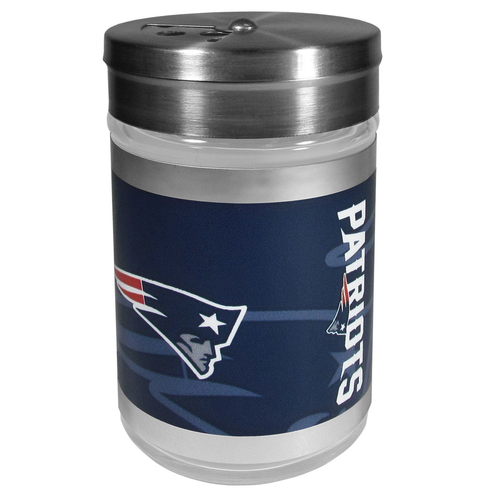 New England Patriots Tailgater Season Shakers - Spice it up with our New England Patriots tailgater season shakers! This compact shaker is 2 inch tall with a twist top that closes off the holes at the top making it perfect for travel preventing those messy spills. The shaker has wide holes perfect for keeping your pepper seeds or cheese toppings. The bright team graphics will make you the envy of the other fans while you are grilling up your tailgating goodies.