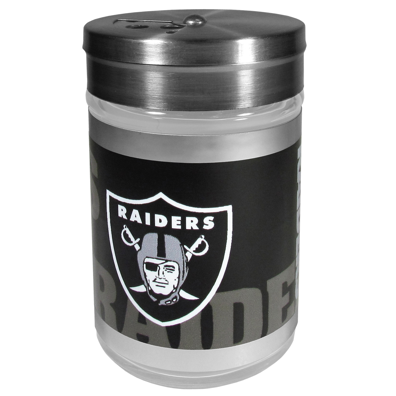Oakland Raiders Tailgater Season Shakers - Spice it up with our Oakland Raiders tailgater season shakers! This compact shaker is 2 inch tall with a twist top that closes off the holes at the top making it perfect for travel preventing those messy spills. The shaker has wide holes perfect for keeping your pepper seeds or cheese toppings. The bright team graphics will make you the envy of the other fans while you are grilling up your tailgating goodies.