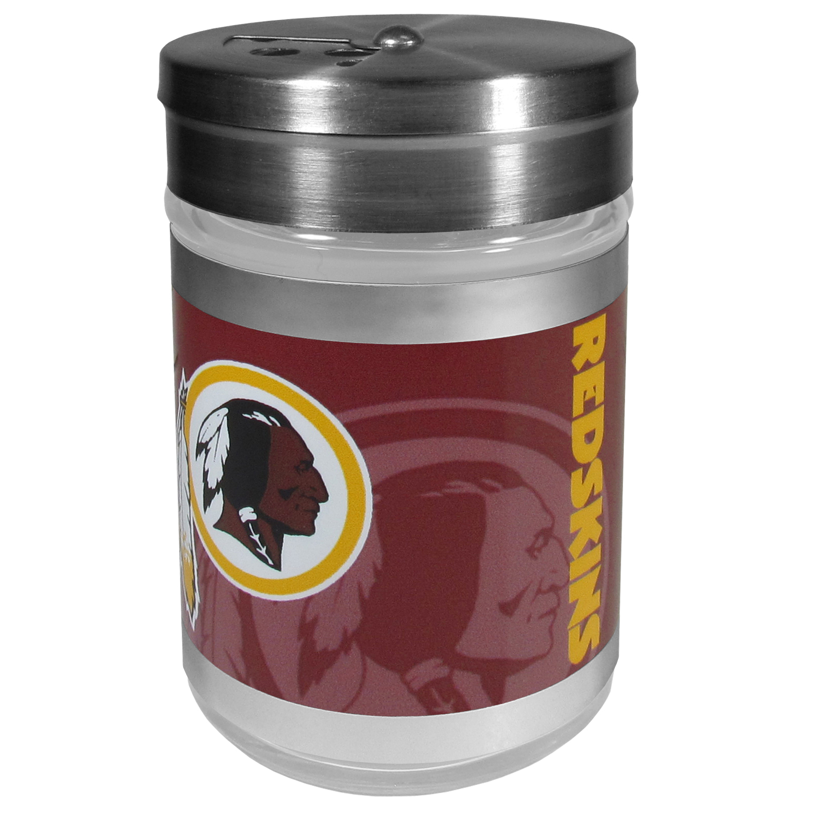 Washington Redskins Tailgater Season Shakers - Spice it up with our Washington Redskins tailgater season shakers! This compact shaker is 2 inch tall with a twist top that closes off the holes at the top making it perfect for travel preventing those messy spills. The shaker has wide holes perfect for keeping your pepper seeds or cheese toppings. The bright team graphics will make you the envy of the other fans while you are grilling up your tailgating goodies.