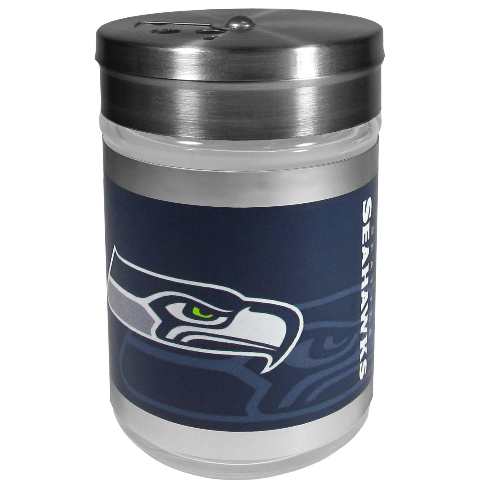 Seattle Seahawks Tailgater Season Shakers - Spice it up with our Seattle Seahawks tailgater season shakers! This compact shaker is 2 inch tall with a twist top that closes off the holes at the top making it perfect for travel preventing those messy spills. The shaker has wide holes perfect for keeping your pepper seeds or cheese toppings. The bright team graphics will make you the envy of the other fans while you are grilling up your tailgating goodies.