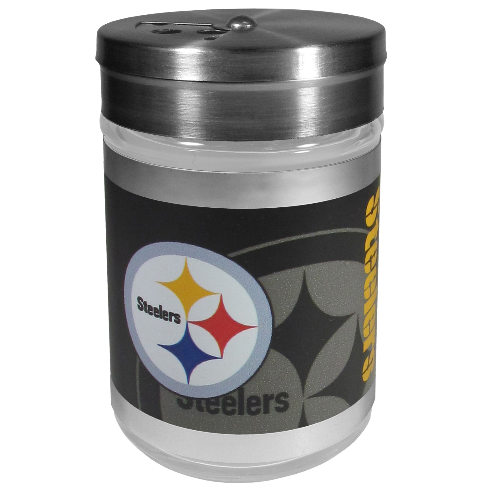 Pittsburgh Steelers Tailgater Season Shakers - Spice it up with our Pittsburgh Steelers tailgater season shakers! This compact shaker is 2 inch tall with a twist top that closes off the holes at the top making it perfect for travel preventing those messy spills. The shaker has wide holes perfect for keeping your pepper seeds or cheese toppings. The bright team graphics will make you the envy of the other fans while you are grilling up your tailgating goodies.