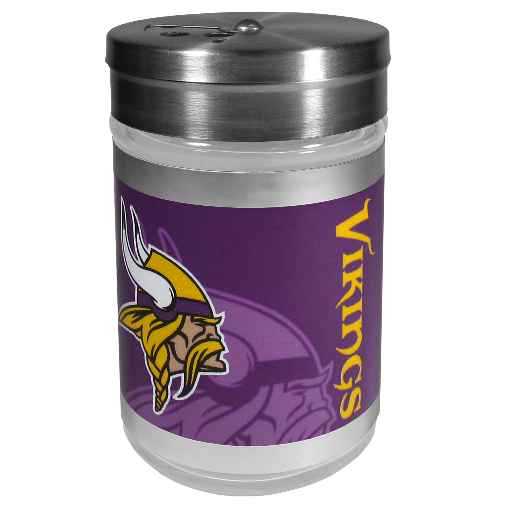 Minnesota Vikings Tailgater Season Shakers - Spice it up with our Minnesota Vikings tailgater season shakers! This compact shaker is 2 inch tall with a twist top that closes off the holes at the top making it perfect for travel preventing those messy spills. The shaker has wide holes perfect for keeping your pepper seeds or cheese toppings. The bright team graphics will make you the envy of the other fans while you are grilling up your tailgating goodies.