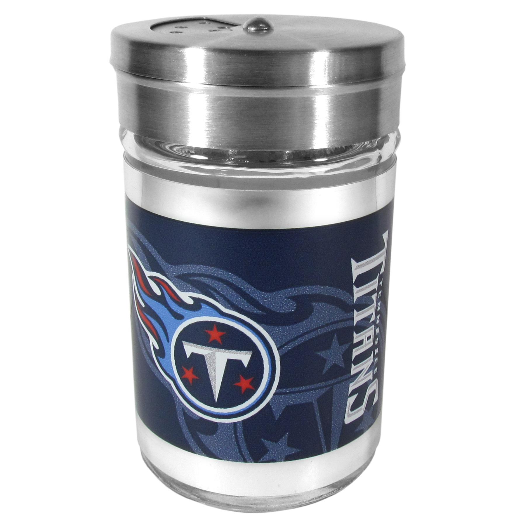 Tennessee Titans Tailgater Season Shakers - Spice it up with our Tennessee Titans tailgater season shakers! This compact shaker is 2 inch tall with a twist top that closes off the holes at the top making it perfect for travel preventing those messy spills. The shaker has wide holes perfect for keeping your pepper seeds or cheese toppings. The bright team graphics will make you the envy of the other fans while you are grilling up your tailgating goodies.
