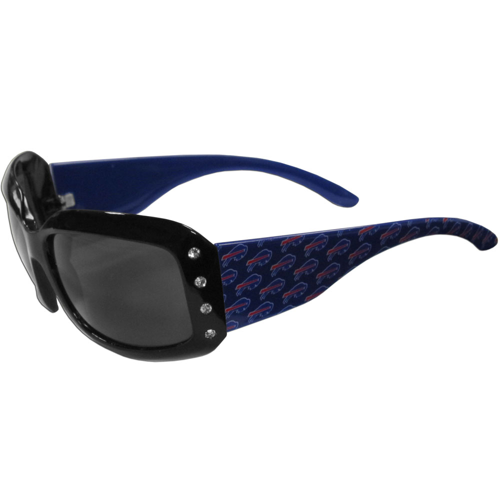Buffalo Bills Designer Women's Sunglasses - Our designer women's sunglasses have a repeating Buffalo Bills logo design on the team colored arms and rhinestone accents. 100% UVA/UVB protection.