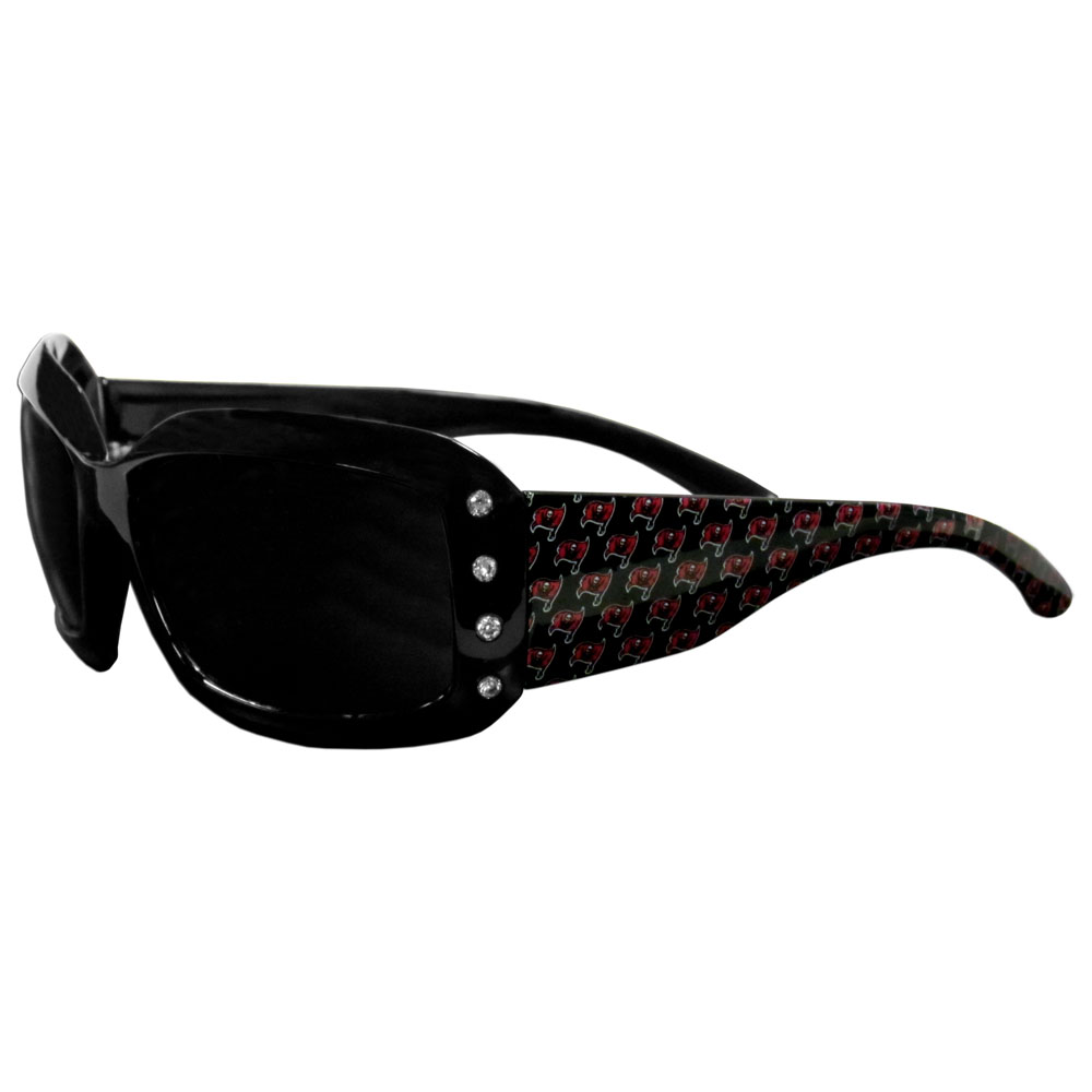 Tampa Bay Buccaneers Designer Women's Sunglasses - Our designer women's sunglasses have a repeating Tampa Bay Buccaneers logo design on the team colored arms and rhinestone accents. 100% UVA/UVB protection.