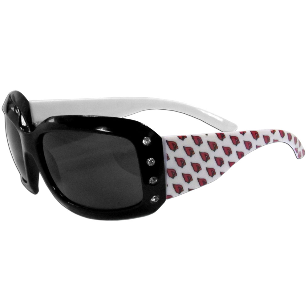 Arizona Cardinals Designer Women's Sunglasses - Our designer women's sunglasses have a repeating Arizona Cardinals logo design on the team colored arms and rhinestone accents. 100% UVA/UVB protection.