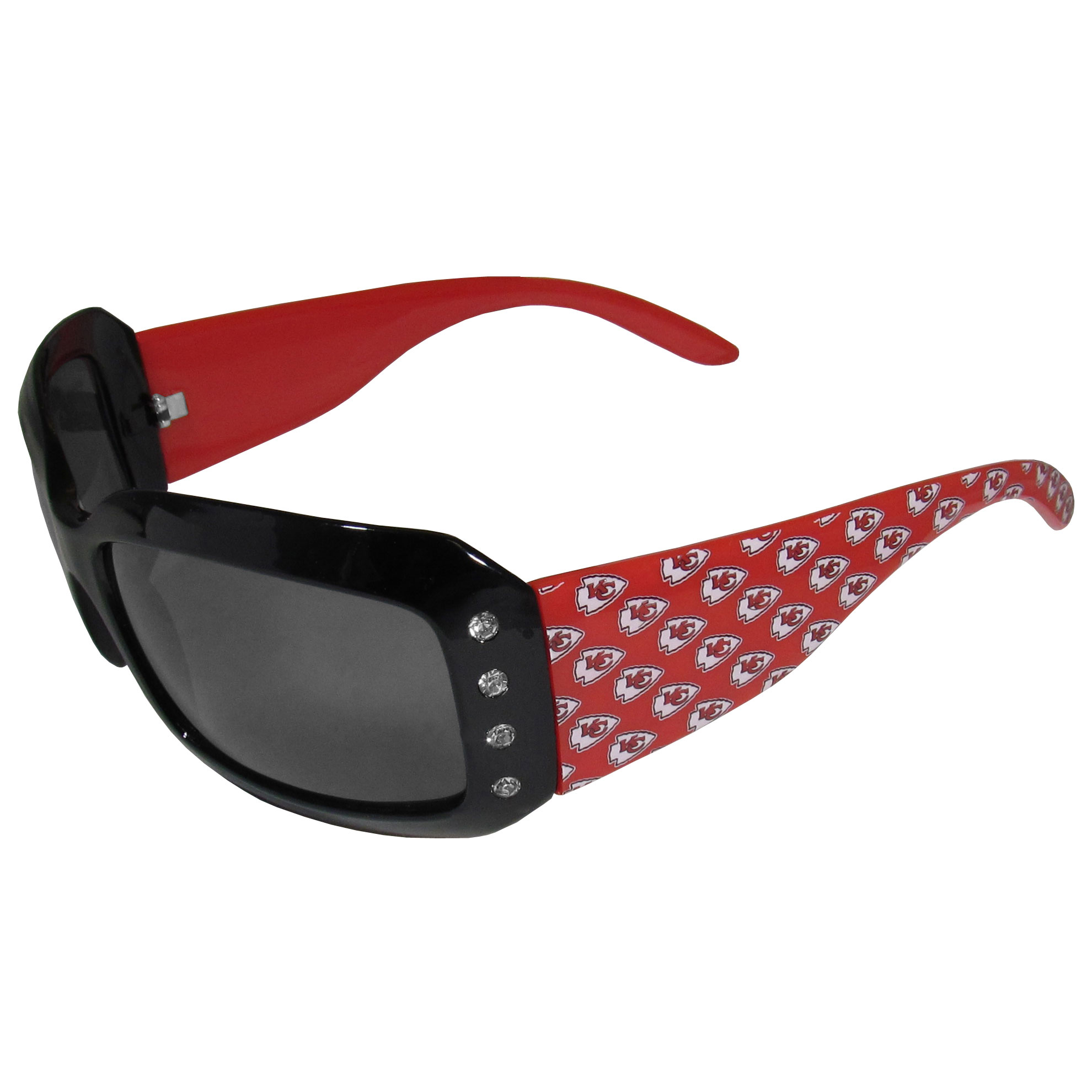 Kansas City Chiefs Designer Women's Sunglasses - Our designer women's sunglasses have a repeating Kansas City Chiefs logo design on the team colored arms and rhinestone accents. 100% UVA/UVB protection.