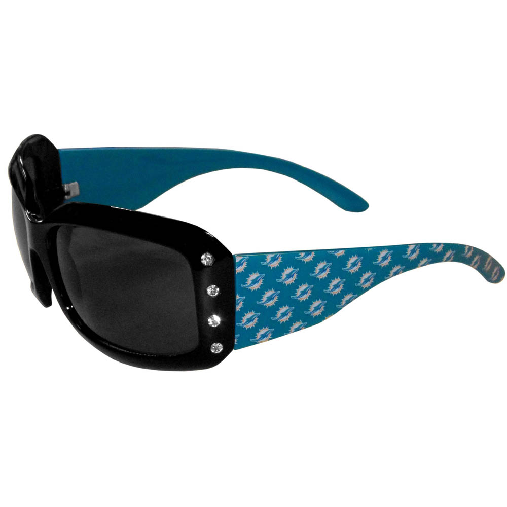Miami Dolphins Designer Women's Sunglasses - Our designer women's sunglasses have a repeating Miami Dolphins logo design on the team colored arms and rhinestone accents. 100% UVA/UVB protection.