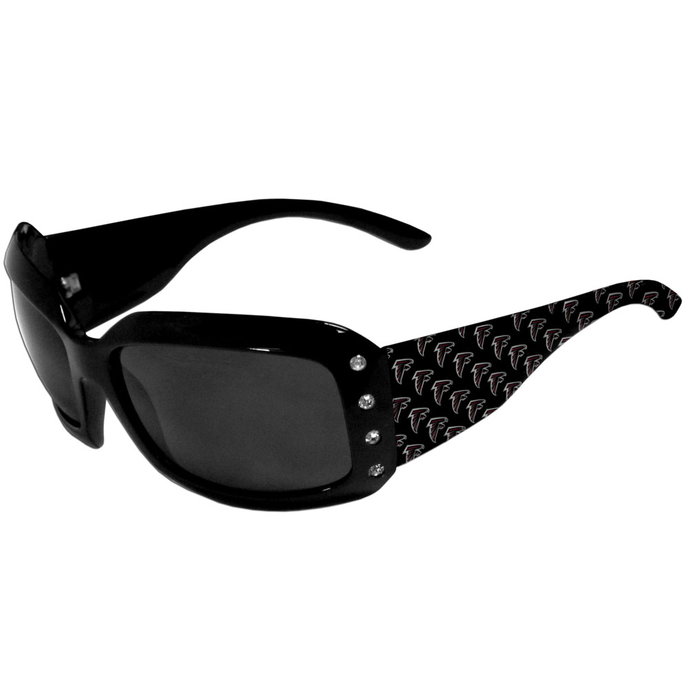 Atlanta Falcons Designer Women's Sunglasses - Our designer women's sunglasses have a repeating Atlanta Falcons logo design on the team colored arms and rhinestone accents. 100% UVA/UVB protection.