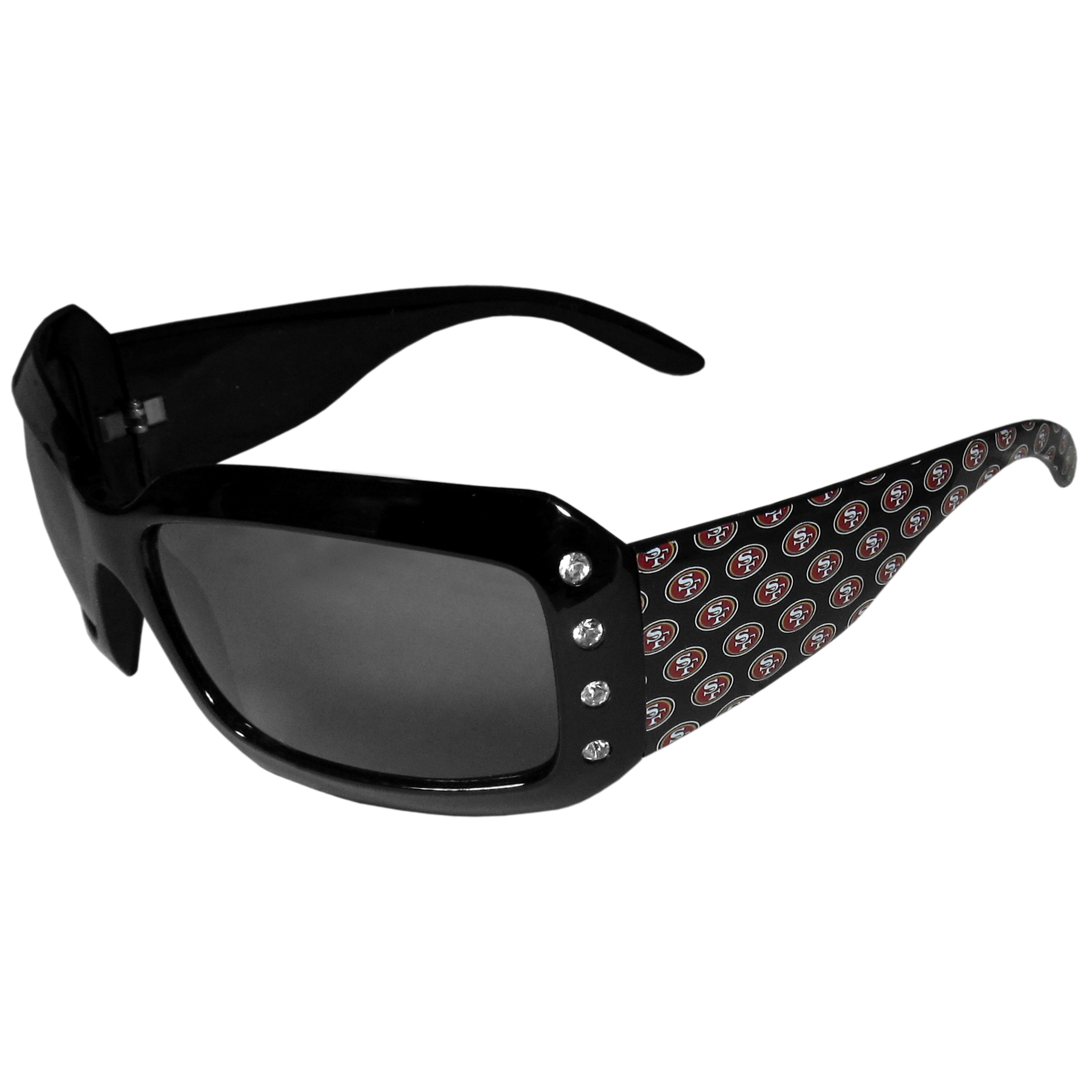 San Francisco 49ers Designer Women's Sunglasses - Our designer women's sunglasses have a repeating San Francisco 49ers logo design on the team colored arms and rhinestone accents. 100% UVA/UVB protection.