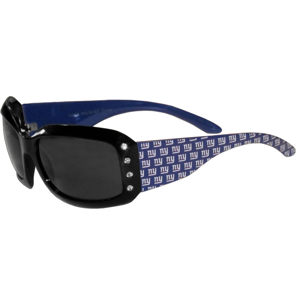 New York Giants Designer Women's Sunglasses - Our designer women's sunglasses have a repeating New York Giants logo design on the team colored arms and rhinestone accents. 100% UVA/UVB protection.