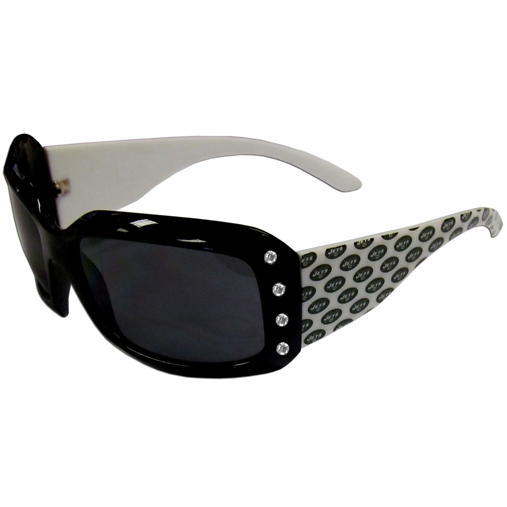 New York Jets Designer Women's Sunglasses - Our designer women's sunglasses have a repeating New York Jets logo design on the team colored arms and rhinestone accents. 100% UVA/UVB protection.
