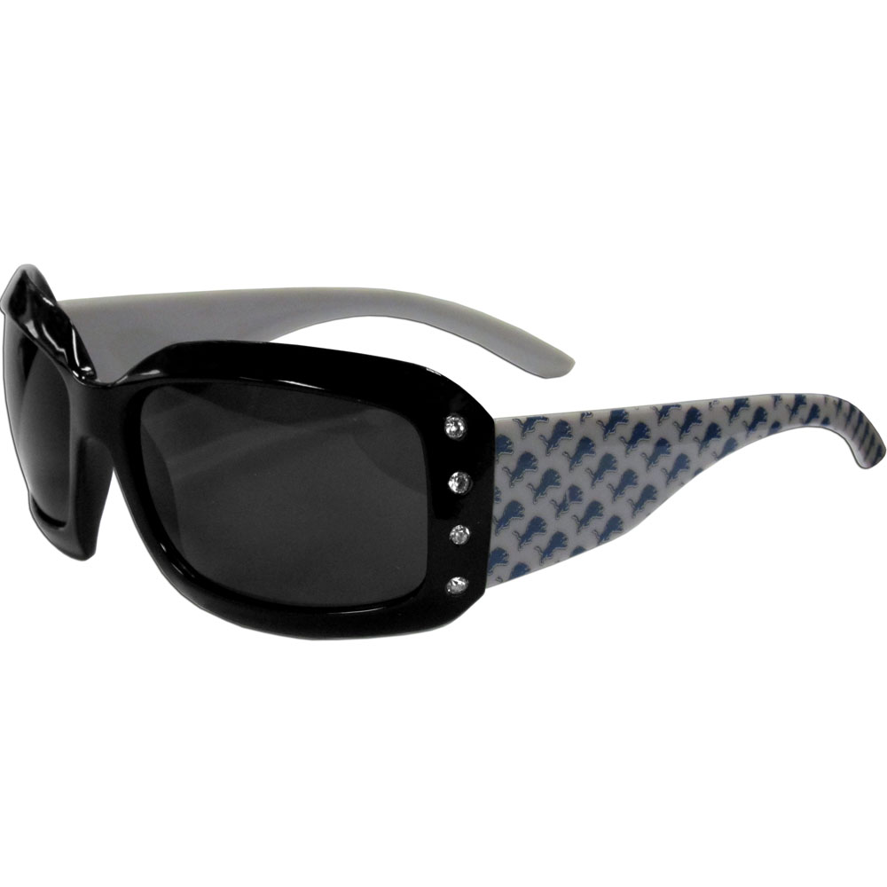 Detroit Lions Designer Women's Sunglasses - Our designer women's sunglasses have a repeating Detroit Lions logo design on the team colored arms and rhinestone accents. 100% UVA/UVB protection.