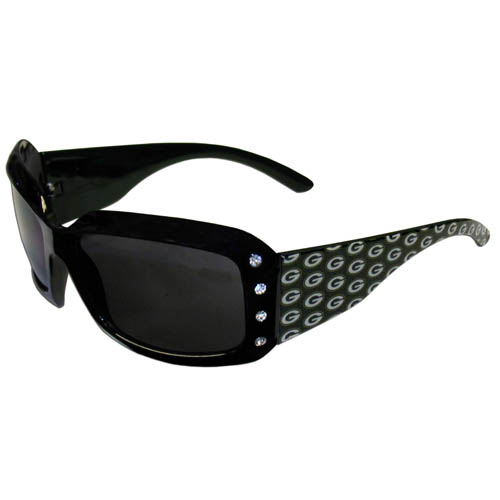 Packers Designer Sunglasses with Rhinestones - Our designer women's sunglasses have a repeating logo design on the team colored arms and rhinestone accents. 100% UVA/UVB protection. Officially licensed NFL product Licensee: Siskiyou Buckle .com