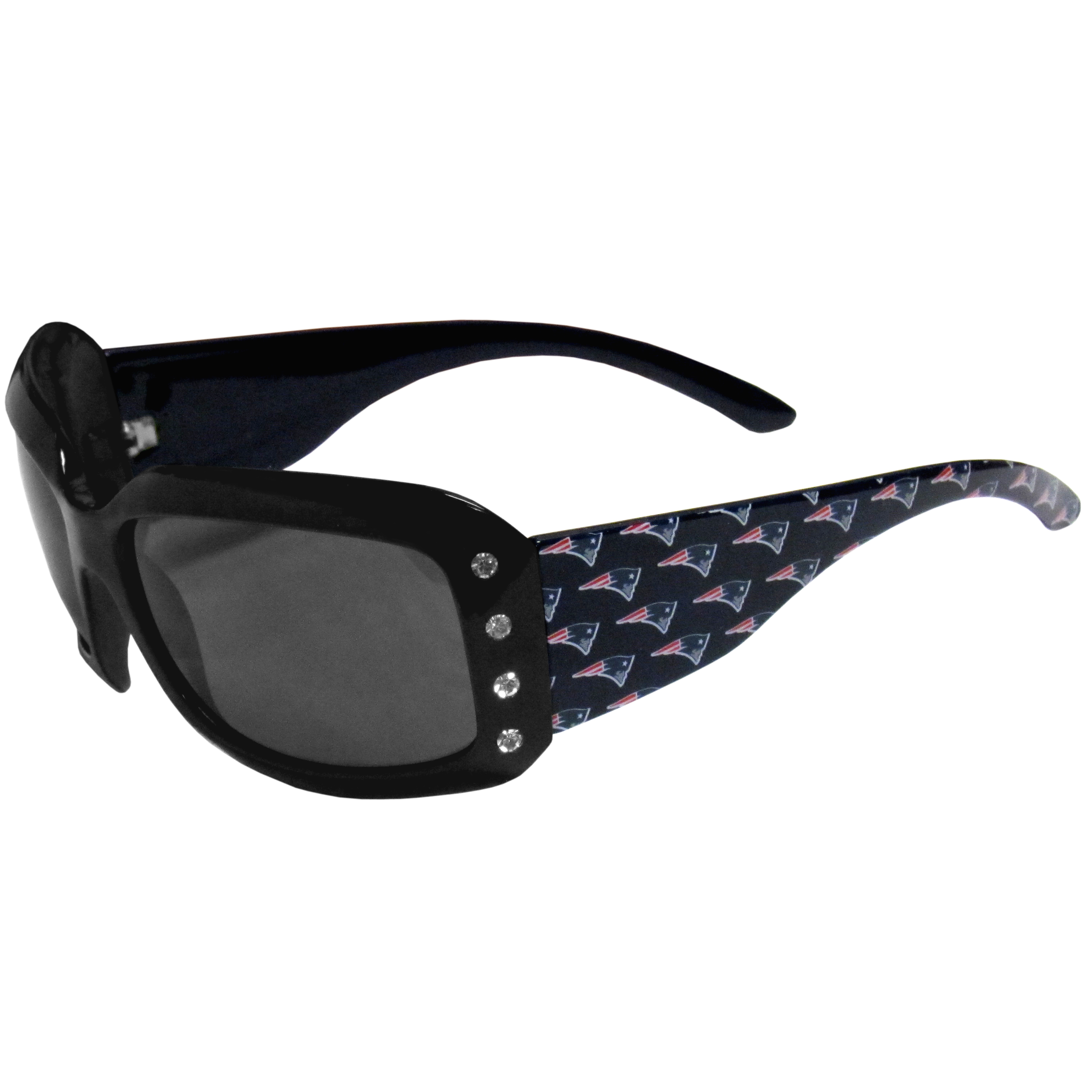New England Patriots Designer Women's Sunglasses - Our designer women's sunglasses have a repeating New England Patriots logo design on the team colored arms and rhinestone accents. 100% UVA/UVB protection.