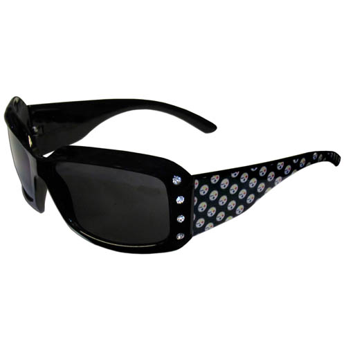 Steelers Designer Sunglasses with Rhinestones - Our designer women's sunglasses have a repeating logo design on the team colored arms and rhinestone accents. 100% UVA/UVB protection. Officially licensed NFL product Licensee: Siskiyou Buckle .com