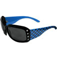 Carolina Panthers Women's Designer Sunglasses - Our designer women's sunglasses have a repeating logo design on the team colored arms and rhinestone accents. 100% UVA/UVB protection. Officially licensed NFL product Licensee: Siskiyou Buckle .com