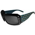 Jacksonville Jaguars Women's Designer Sunglasses - Our designer women's sunglasses have a repeating logo design on the team colored arms and rhinestone accents. 100% UVA/UVB protection. Officially licensed NFL product Licensee: Siskiyou Buckle Thank you for visiting CrazedOutSports.com