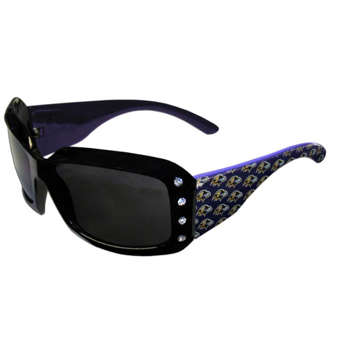 Ravens Designer Sunglasses with Rhinestones - Our designer women's sunglasses have a repeating logo design on the team colored arms and rhinestone accents. 100% UVA/UVB protection. Officially licensed NFL product Licensee: Siskiyou Buckle .com
