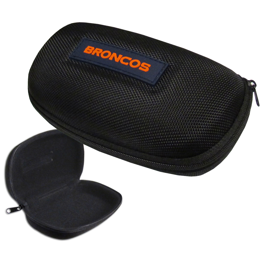 Denver Broncos Hard Shell Sunglass Case - Our Denver Broncos hard sunglass cases are a great way to protect your sunglasses. The hard molded shell protects the glasses from being crushed or damaged from dropping. The zippered closure prevents accidental opening and the soft lining protects the lenses from scratches.