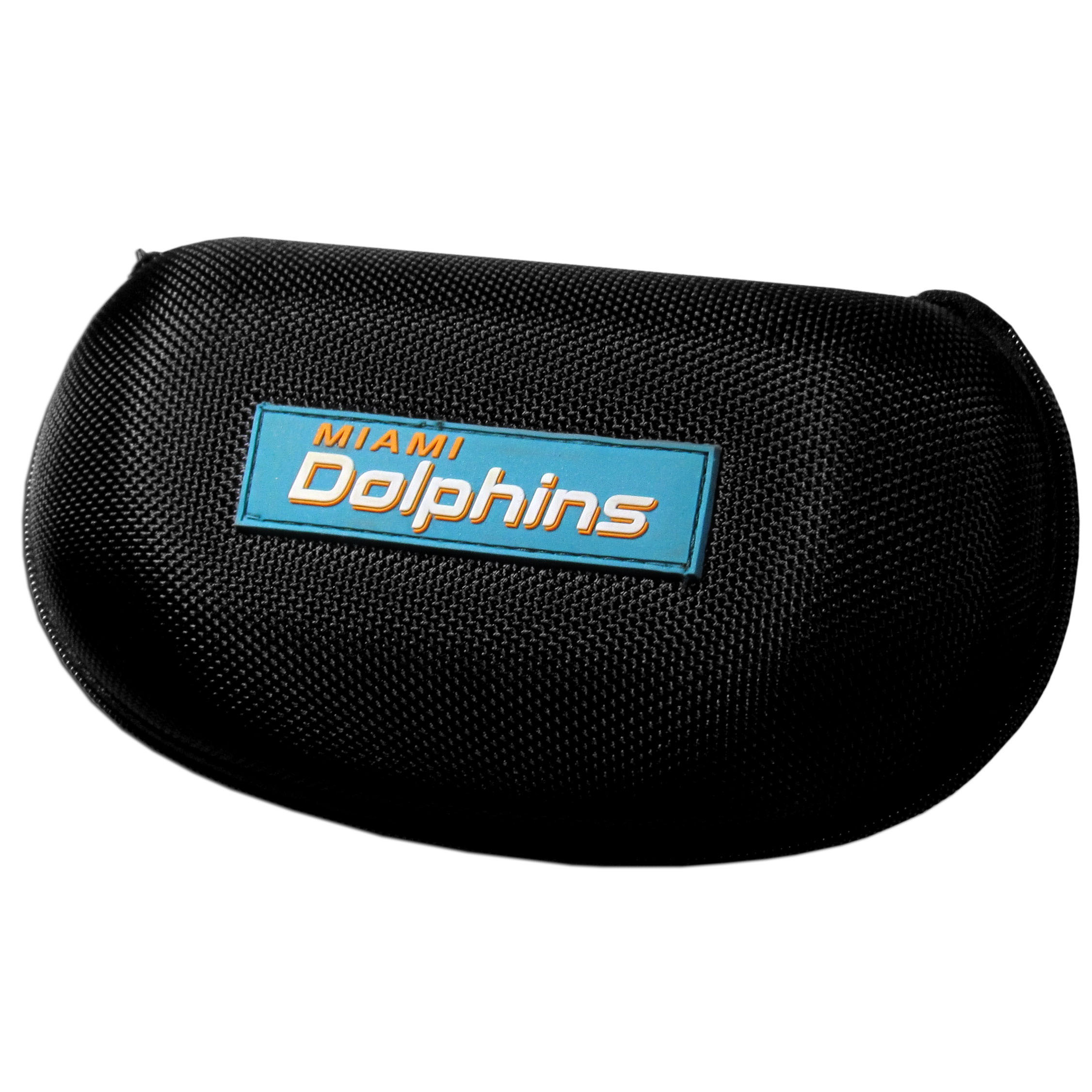 Miami Dolphins Hard Shell Sunglass Case - Our Miami Dolphins hard sunglass cases are a great way to protect your sunglasses. The hard molded shell protects the glasses from being crushed or damaged from dropping. The zippered closure prevents accidental opening and the soft lining protects the lenses from scratches.