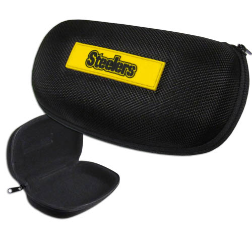 Pittsburgh Steelers Zippered Sunglass Case - Pittsburgh Steelers NFL hard sunglass cases are a great way to protect your sunglasses. The Pittsburgh Steelers hard molded shell protects the glasses from being crushed or damaged from dropping. The zippered closure prevents accidental opening and the soft lining protects the lenses from scratches. Officially licensed NFL product Licensee: Siskiyou Buckle .com