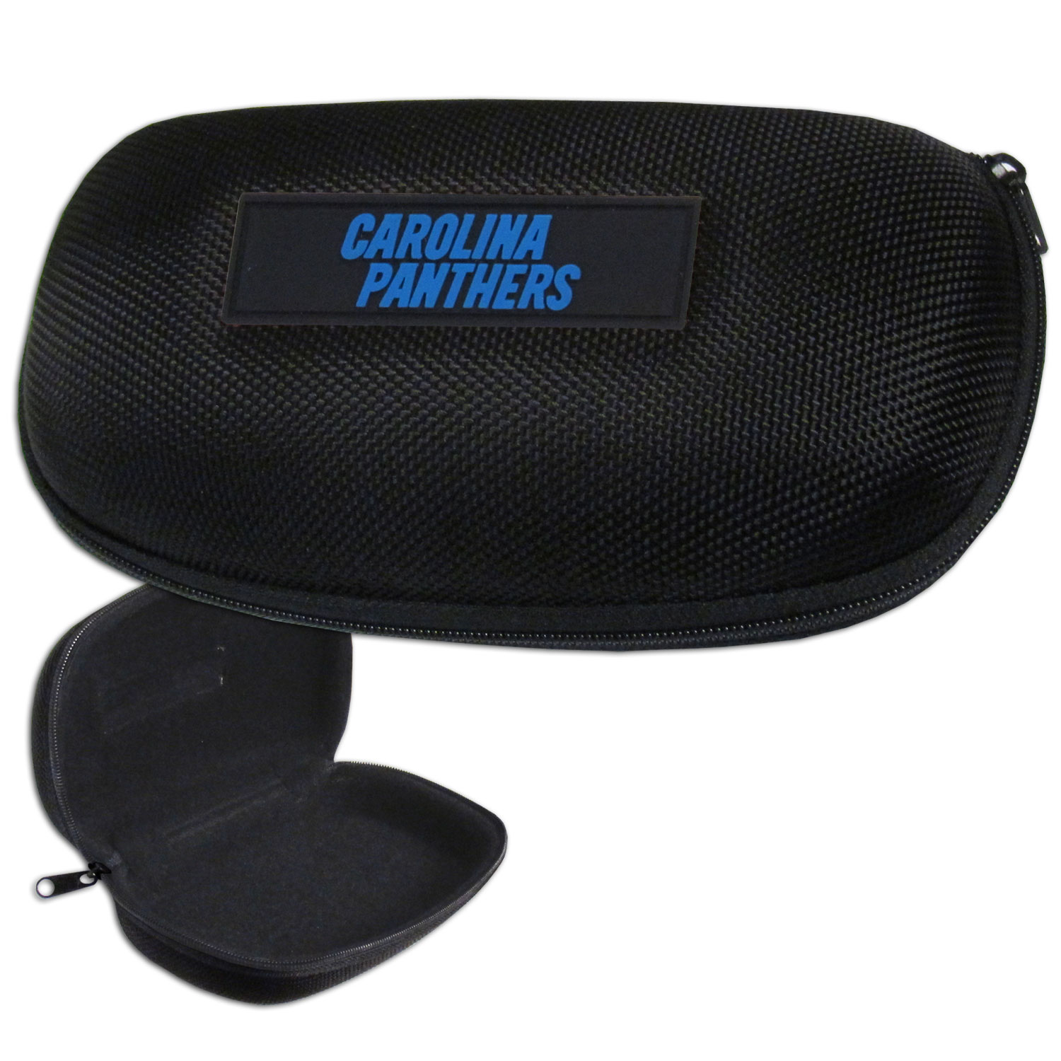 Carolina Panthers Zippered Sunglass Case - Carolina Panthers NFL hard sunglass cases are a great way to protect your Carolina Panthers sunglasses. The hard molded shell protects the glasses from being crushed or damaged from dropping. The zippered closure prevents accidental opening and the soft lining protects the lenses from scratches. Officially licensed NFL product Licensee: Siskiyou Buckle Thank you for visiting CrazedOutSports.com