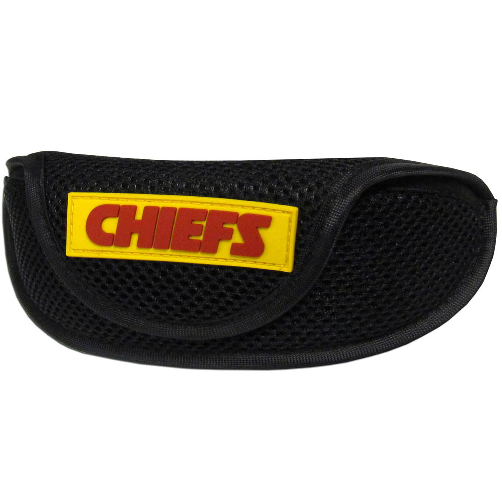 Kansas City Chiefs Sport Sunglass Case - Our officially licensed soft sport glasses case has microfiber interior to prevent scratches and a velcro closure to secure the glasses. The sporty mesh material and colorful Kansas City Chiefs logo finishes off this fashionable and functional case.
