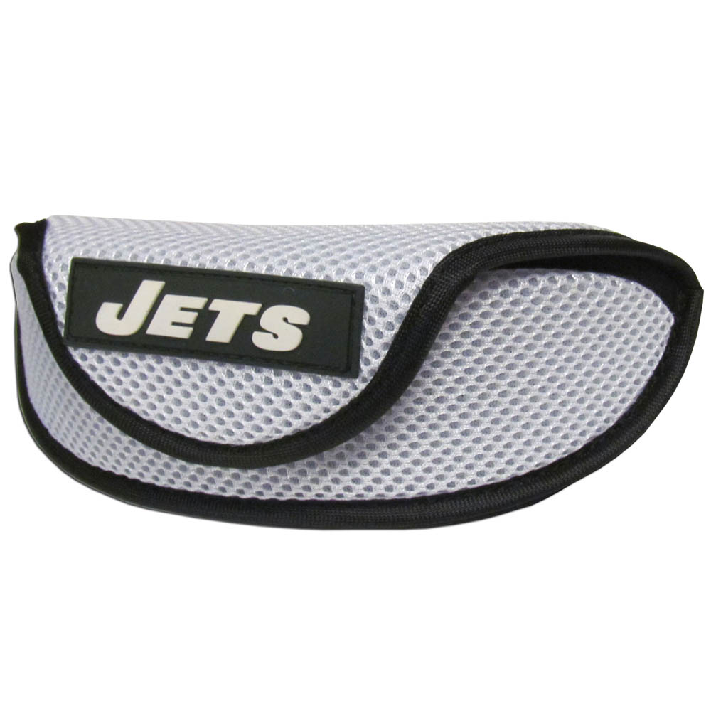 New York Jets Sport Sunglass Case - Our officially licensed soft sport glasses case has microfiber interior to prevent scratches and a velcro closure to secure the glasses. The sporty mesh material and colorful New York Jets logo finishes off this fashionable and functional case.