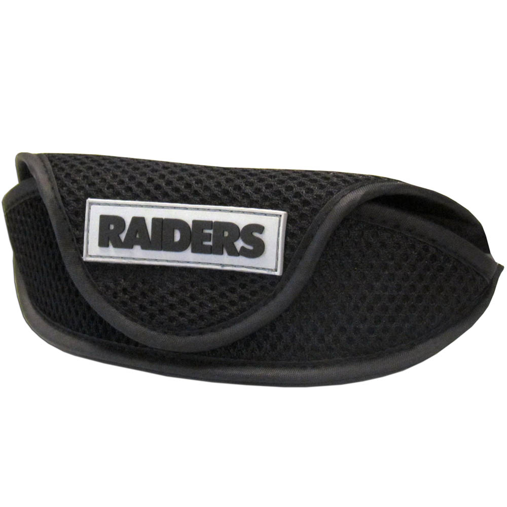 Oakland Raiders Sport Sunglass Case - Our officially licensed soft sport glasses case has microfiber interior to prevent scratches and a velcro closure to secure the glasses. The sporty mesh material and colorful Oakland Raiders logo finishes off this fashionable and functional case.