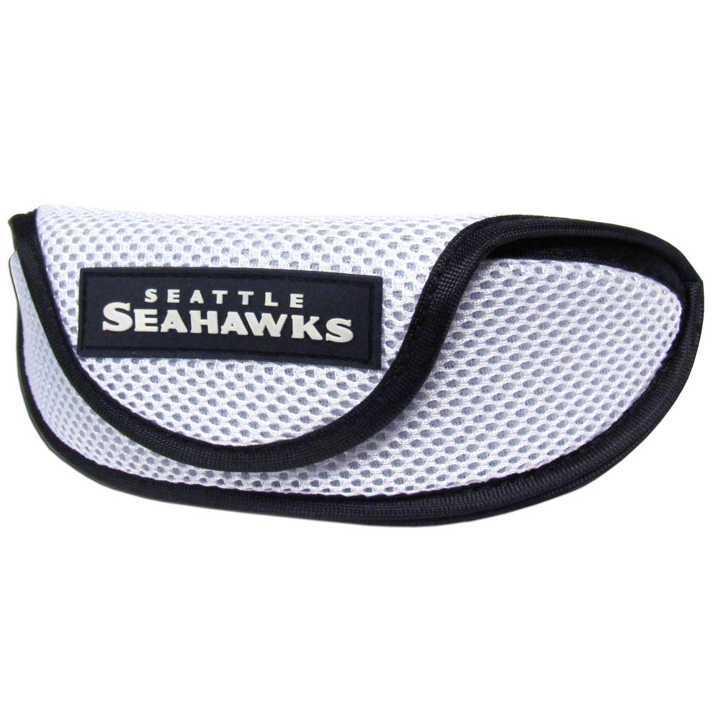 Seattle Seahawks Sport Sunglass Case - Our officially licensed soft sport glasses case has microfiber interior to prevent scratches and a velcro closure to secure the glasses. The sporty mesh material and colorful Seattle Seahawks logo finishes off this fashionable and functional case.