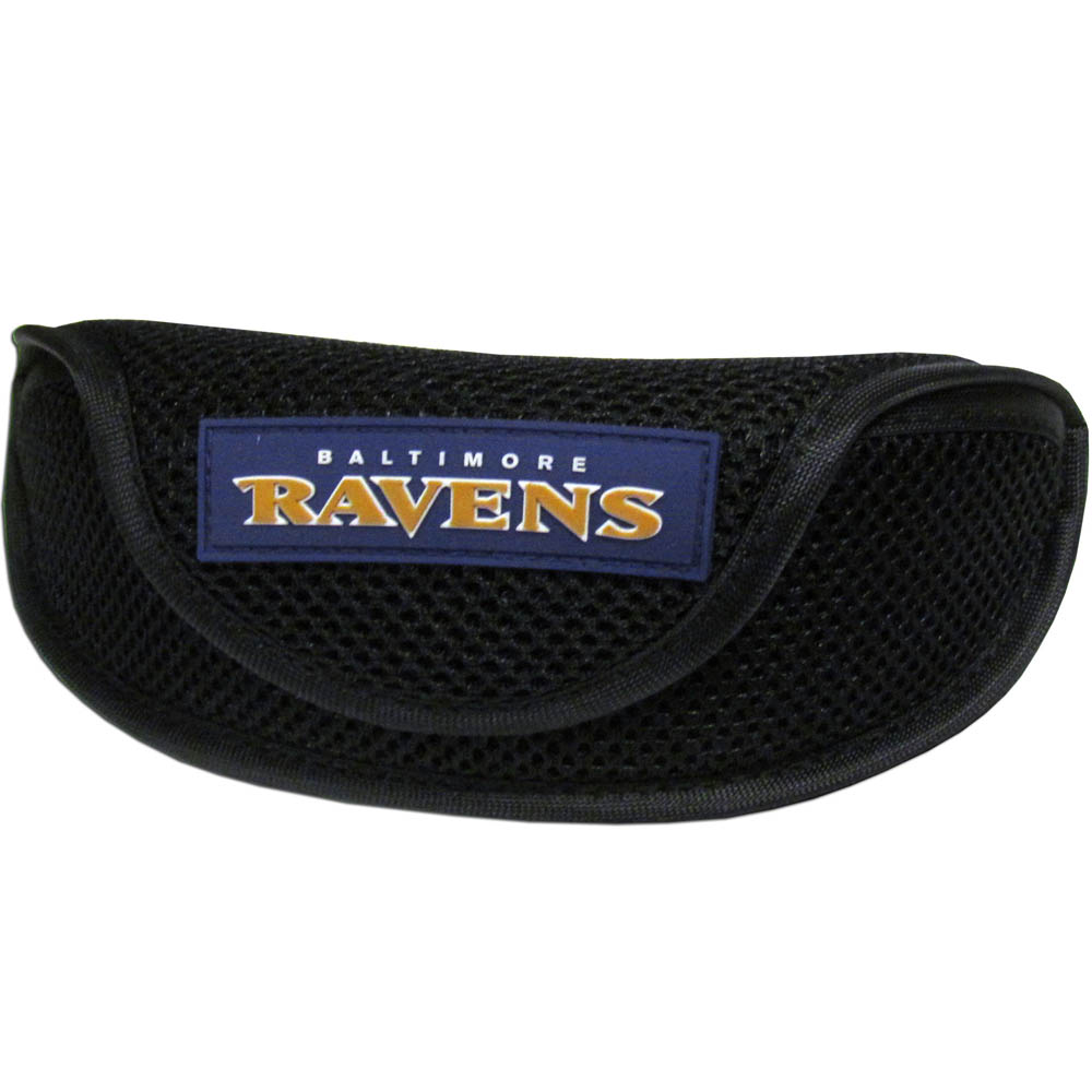 Baltimore Ravens Sport Sunglass Case - Our officially licensed soft sport glasses case has microfiber interior to prevent scratches and a velcro closure to secure the glasses. The sporty mesh material and colorful Baltimore Ravens logo finishes off this fashionable and functional case.
