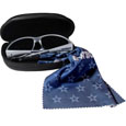 Dallas Cowboys Sunglass & Accessory Set - You'll never miss the game winning play when you have your Dallas Cowboys sunglass kit! Each kit comes with a hard shell zip case, a cleaning cloth and Siskiyou's popular wrap sunglasses!  The wrap sunglasses have the team logo screen printed on one side of the frame and the team name on the other side of the frame. The sunglass arms feature rubber team colored accents. Maximum UVA/UVB protection. The cleaning cloth features team logo and name in crisp clear graphics and helps keep your sunglasses smudge free. The kit also comes with a hard shell case that is lined with a microfiber interior to help keep your glasses scratch-free. Officially licensed NFL product Licensee: Siskiyou Buckle .com