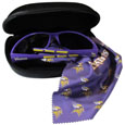 Minnesota Vikings Sunglass & Accessory Set - You'll never miss the game winning play when you have your Minnesota Vikings sunglass kit! Each kit comes with a hard shell zip case, a cleaning cloth and Siskiyou's popular wrap sunglasses!  The wrap sunglasses have the team logo screen printed on one side of the frame and the team name on the other side of the frame. The sunglass arms feature rubber team colored accents. Maximum UVA/UVB protection. The cleaning cloth features team logo and name in crisp clear graphics and helps keep your sunglasses smudge free. The kit also comes with a hard shell case that is lined with a microfiber interior to help keep your glasses scratch-free. Officially licensed NFL product Licensee: Siskiyou Buckle Thank you for visiting CrazedOutSports.com