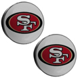 San Francisco 49ers Ear Gauge Pair  - Officially licensed San Francisco 49ers ear plugs are double flared for a snug fit and the back screws on and off. They are made of quality 316L stainless steel and feature an inlaid San Francisco 49ers logo. Officially licensed NFL product Licensee: Siskiyou Buckle. Thank you for visiting CrazedOutSports!