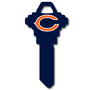 Schlage NFL House Key - Chicago Bears - NFL house keys are a great way to show team spirit while keeping keys organized.  keys can be cut to fit your home or office at the local hardware store or locksmith.  Style pre-fix FSK can be cut to fit Schlage keys (reference pre-fix FQK for key). Officially licensed NFL product Licensee: Siskiyou Buckle .com