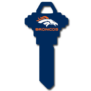 Schlage NFL House Key - Denver Broncos - NFL house keys are a great way to show team spirit while keeping keys organized.  keys can be cut to fit your home or office at the local hardware store or locksmith.  Style pre-fix FSK can be cut to fit Schlage keys (reference pre-fix FQK for key). Officially licensed NFL product Licensee: Siskiyou Buckle Thank you for visiting CrazedOutSports.com